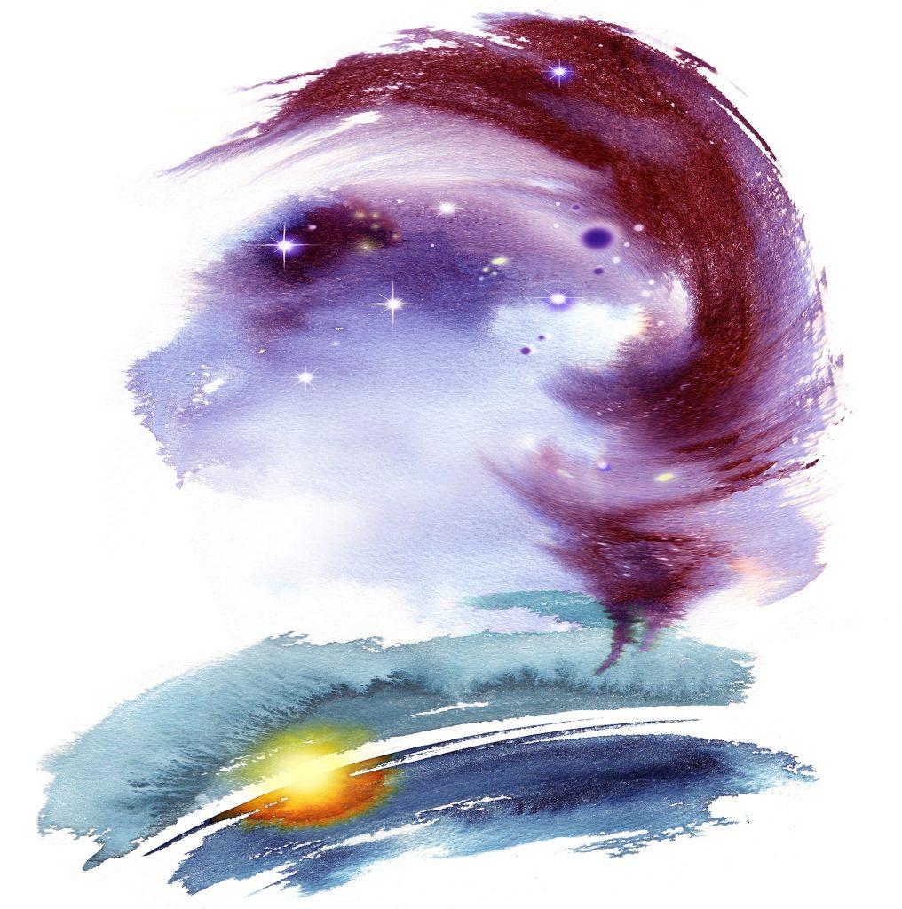 Illustration Conceptual Tarot Cards The Universe Fantasy Watercolour Night Sky Sea Sunset