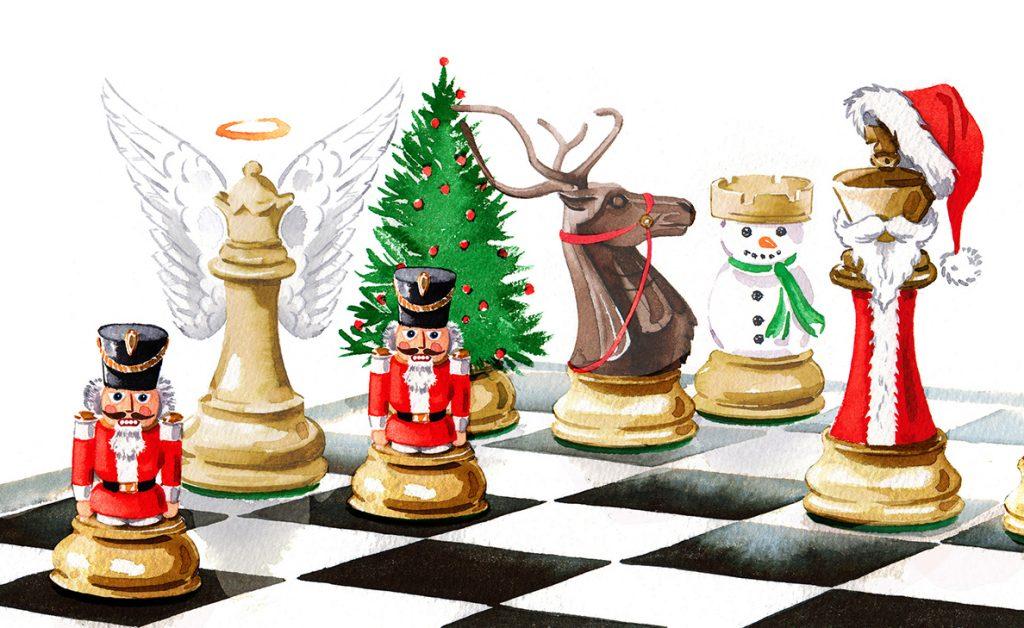 Illustration Conceptual Christmas Chess Tactical Social Game