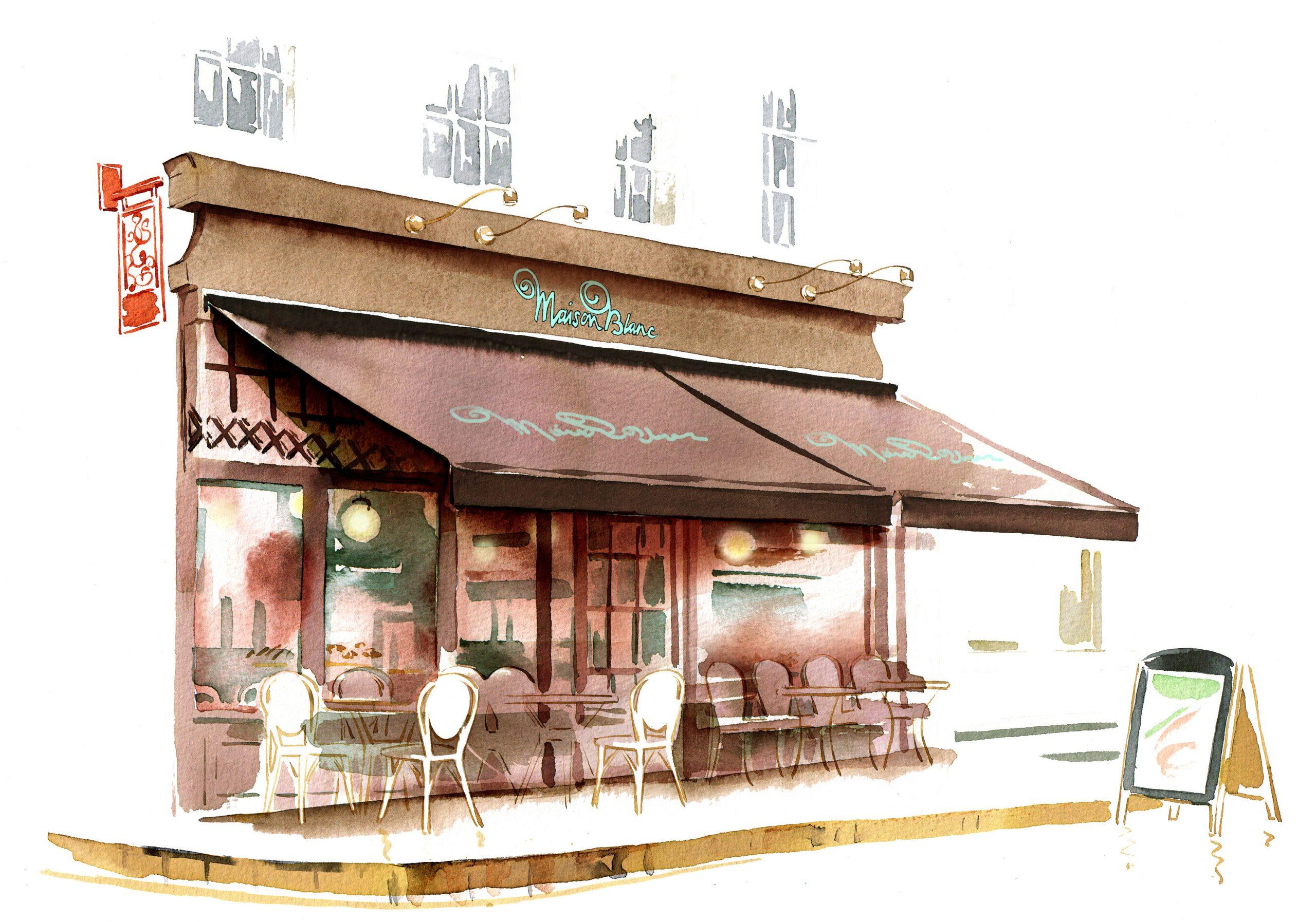 Illustration Architecture Maison Blanc Brasserie Restuarant