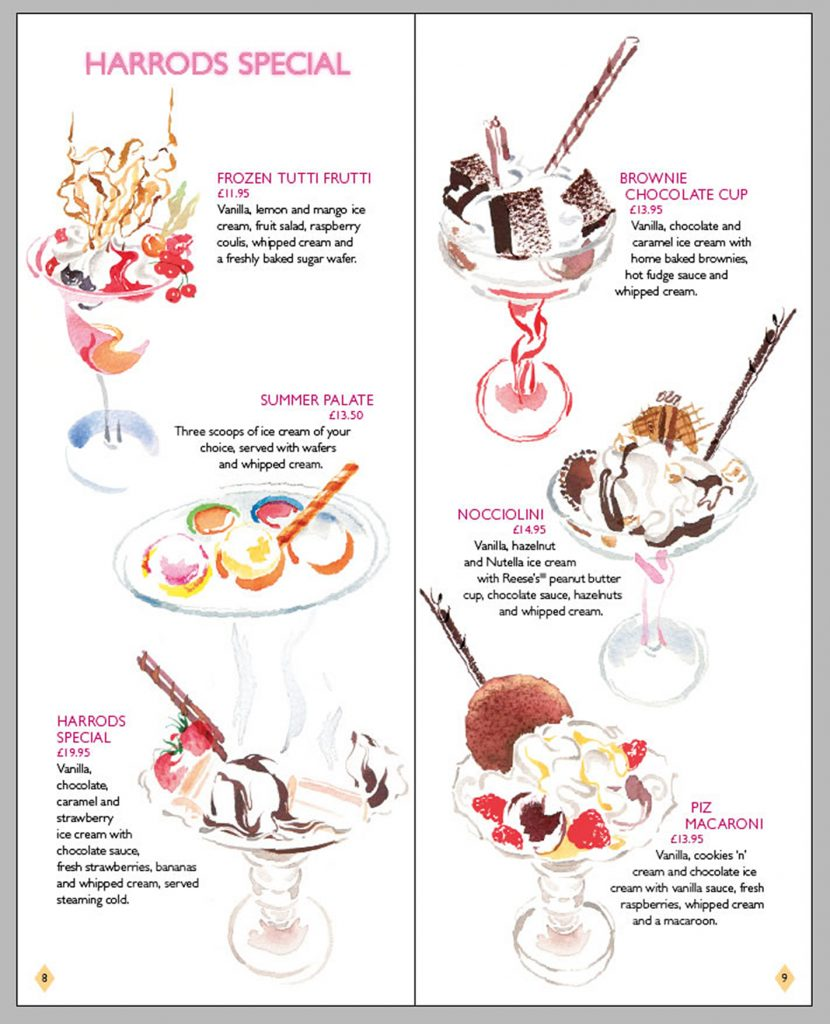 Illustration Food And Drink Harrods The Ice Cream Parlour Menu