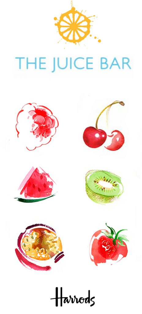 Illustration Food Drink Harrods Food Fruit Bar Menu Hall Smoothies