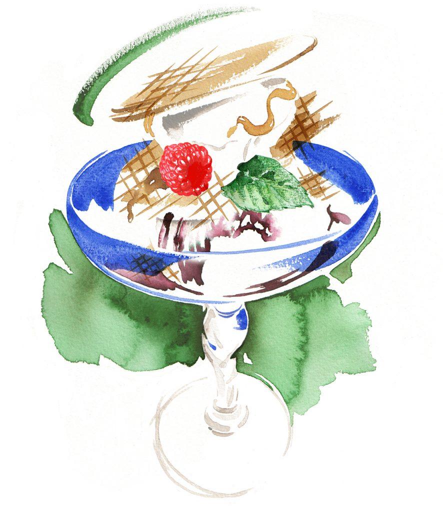 Illustration Food Drink Harrods Food Hall Ice Cream Sundae Milk Bar