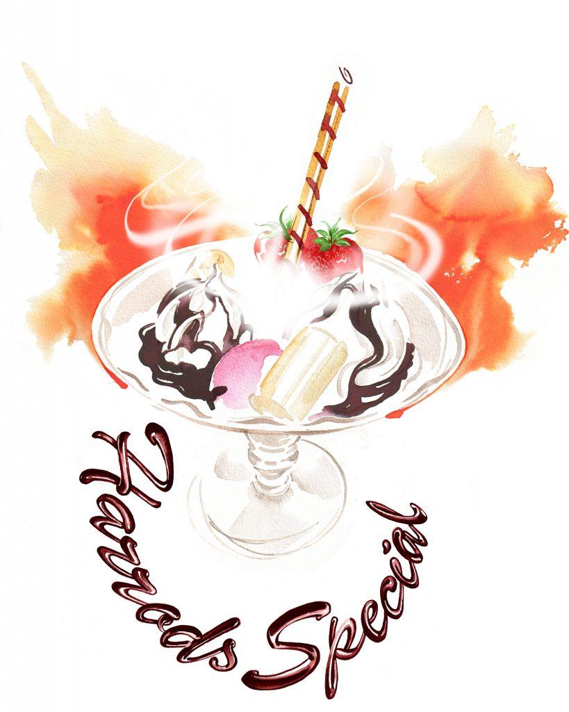 Illustration Food Drink Harrods Special Sundae