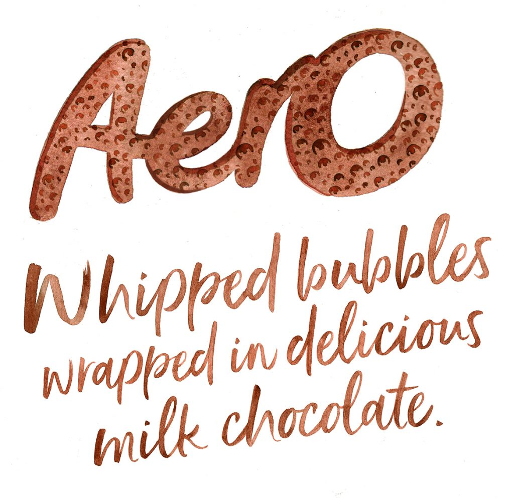 Illustration Hand Lettering Calligraphy Aero Chocolate Packaging Logo Icon Text