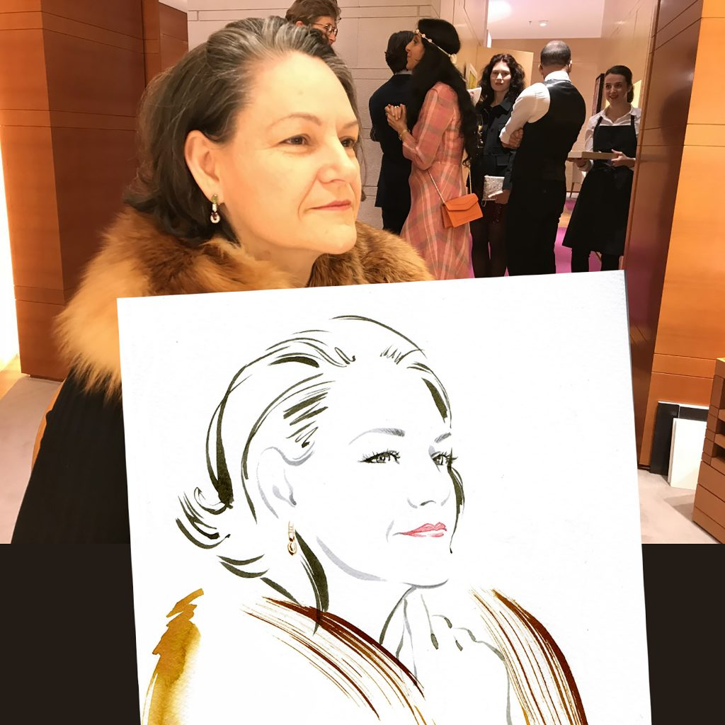 Illustration Live Event Drawing Bulgari Munich Brush Ink Client Portrait