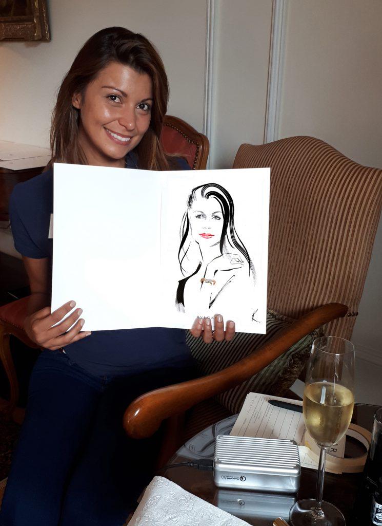 Illustration Live Event Drawing Bulgari StMoritz Brush Ink Guest Portrait