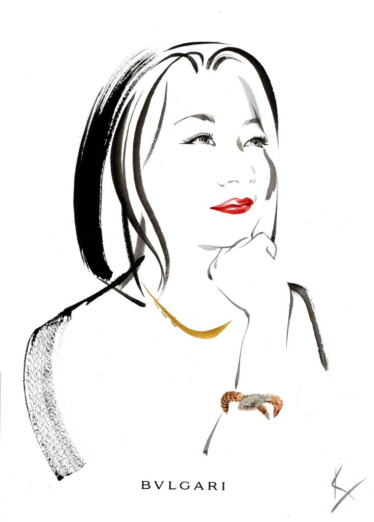 Illustration Live Event Drawing Bulgari Zurich Brush Ink Client Jane Dornbierer Portrait