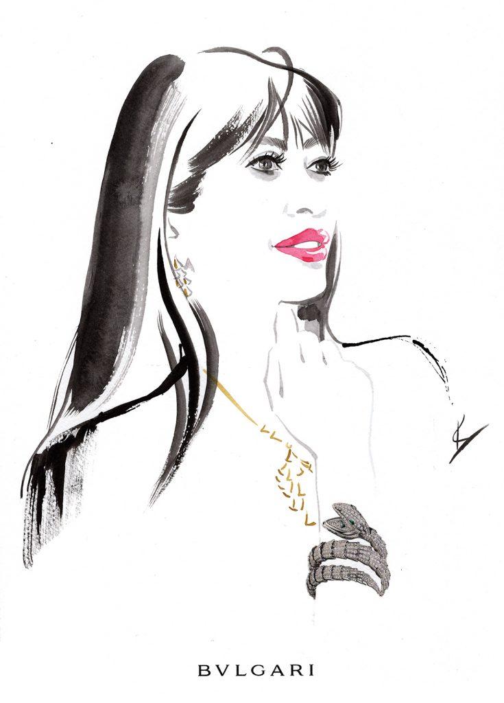 Illustration Live Event Drawing Bulgari Zurich Brush Ink Guest Portrait 2