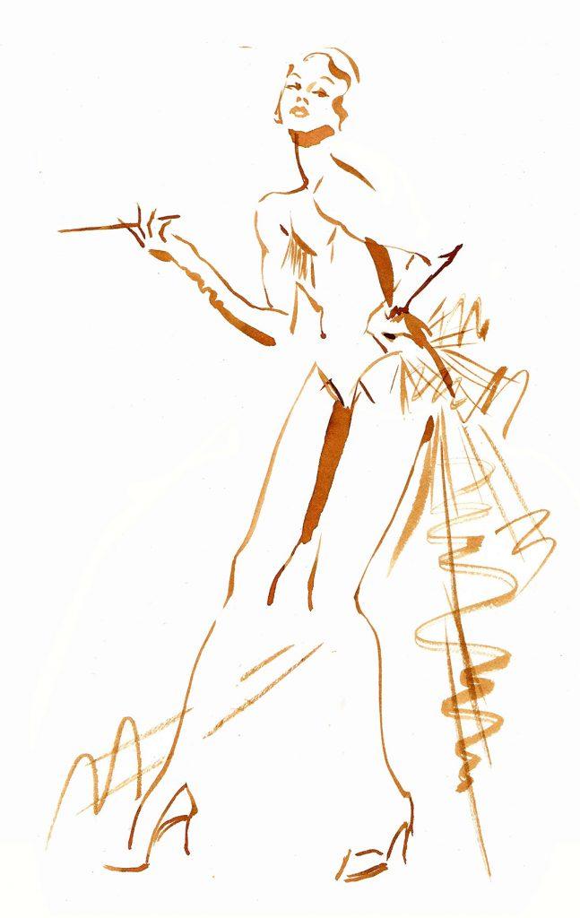 Illustration Live Drawing Cabaret Couture J'adore La Vie Show=girl
