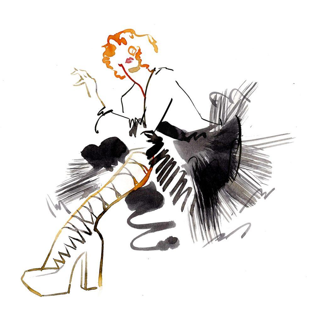Illustration Live Drawing Cabaret Couture Antonia Nae Couture Natacha Morro