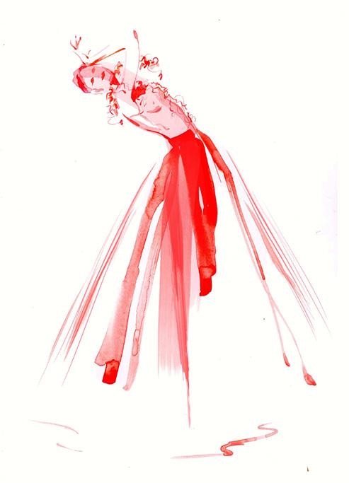 Illustration Live Drawing Cabaret Couture Inga Kovalerova Couture