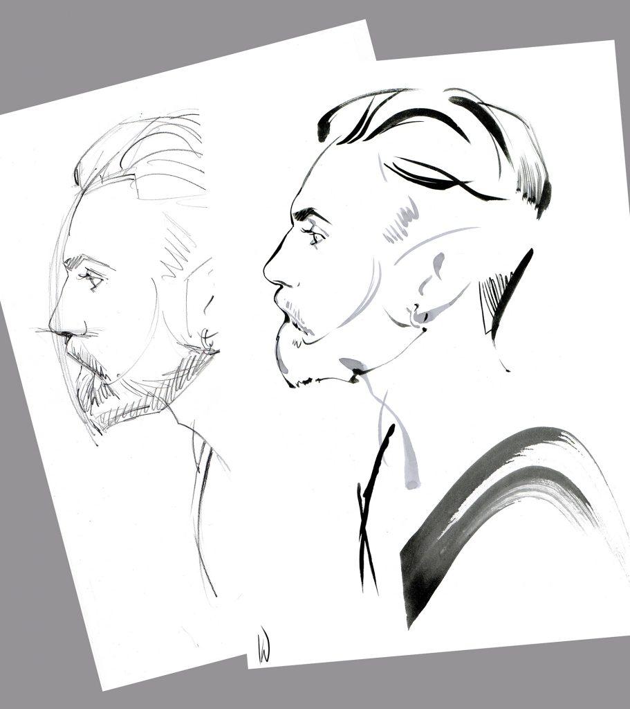Illustration Portraits YSL Live Drawing Client Portrait Brush Ink Sketch