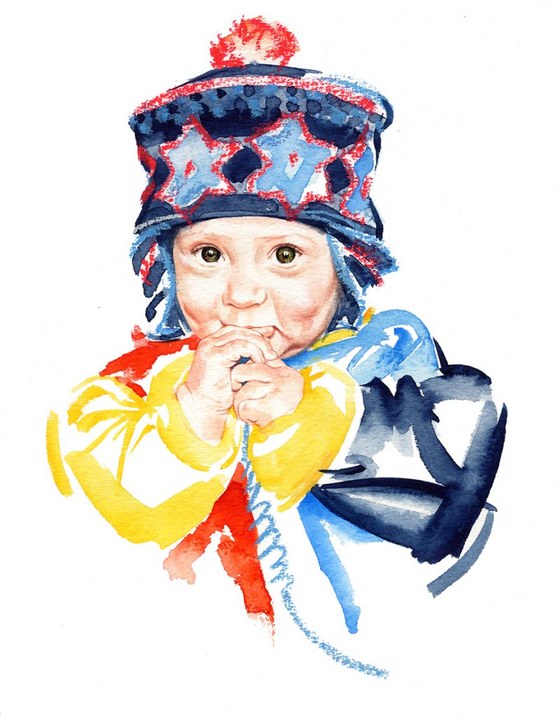 Illustration Portraits Baby Jake Calvert Hat