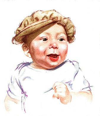Illustration Portraits Baby Joel Calvert