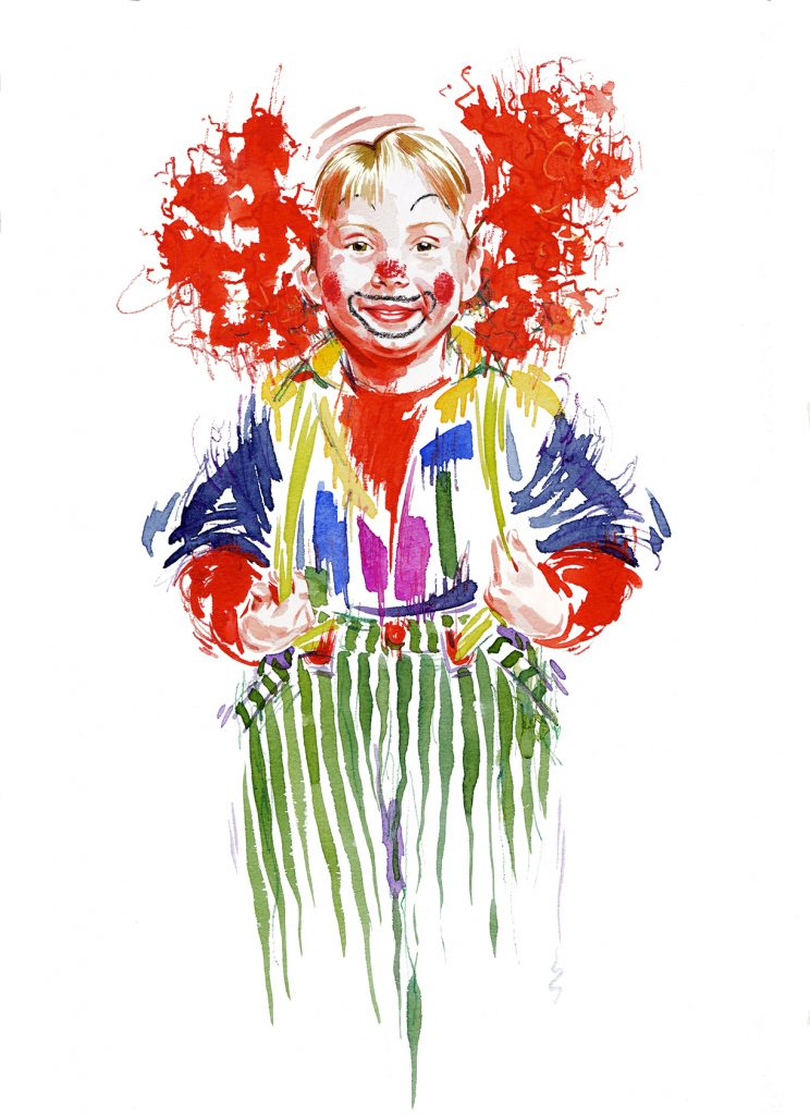 Illustration Portraits Child Red Nose Day