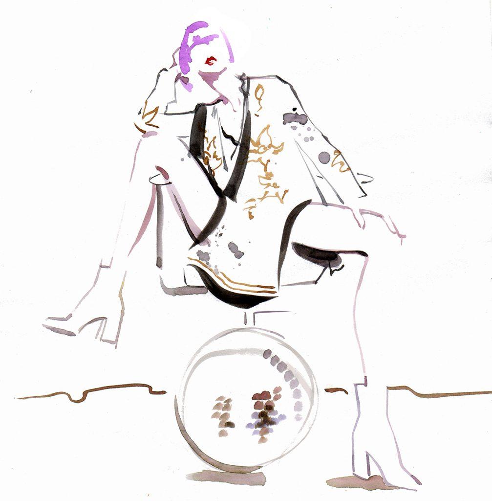 Illustration Live Event Drawing Ami Benton 70's Theme