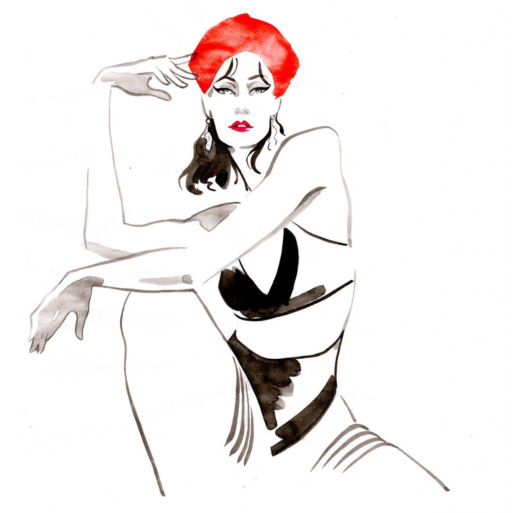 Illustration Live Event Drawing Ami Benton French Beret Theme