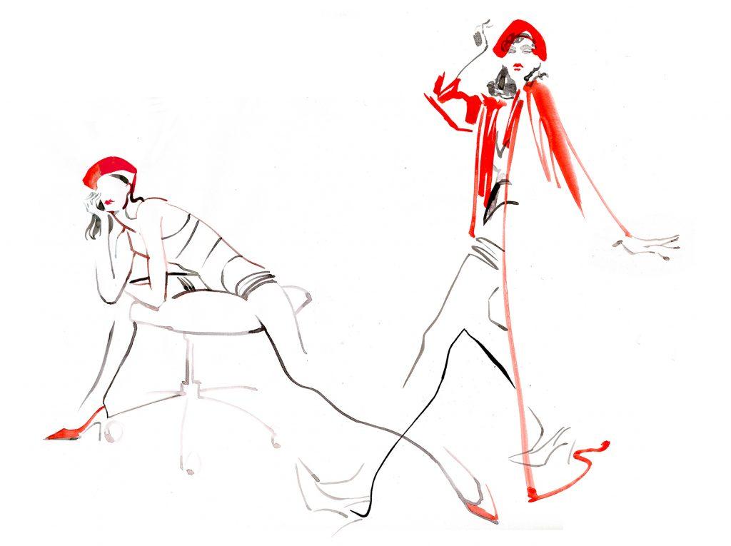 Illustration Live Event Drawing Ami Benton French Beret Theme 2