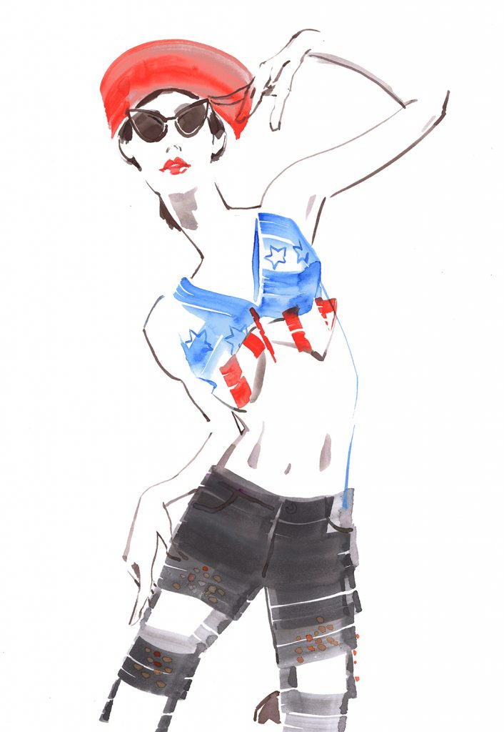 Illustration Live Event Drawing Ami Benton French Beret Theme 3