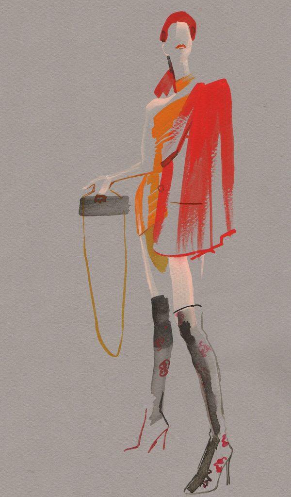 Illustration Live Event Drawing Ami Benton High Fashion Theme