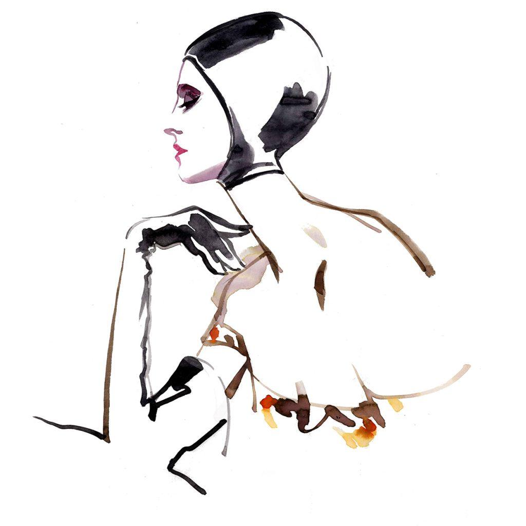 Illustration Live Event Drawing Ami Benton Leather Theme Portrait
