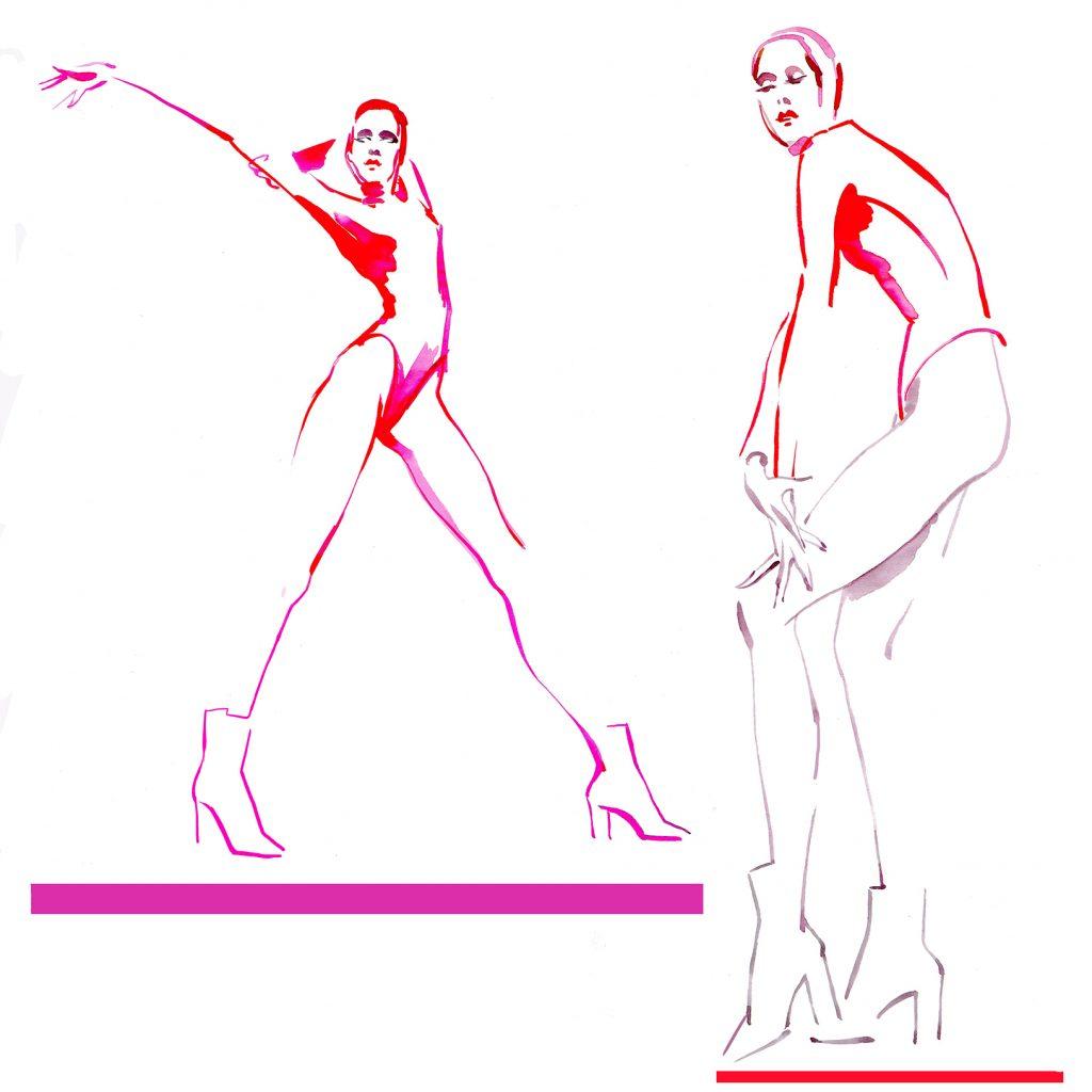 Illustration Live Event Drawing Ami Benton Pink Black Theme 3