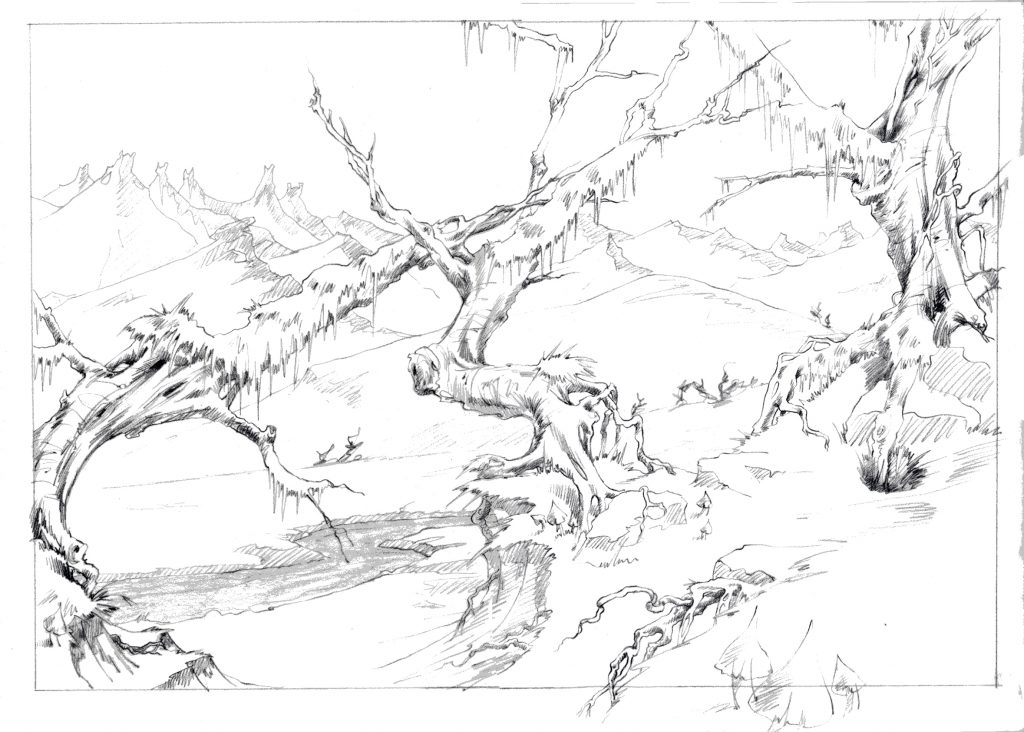 Illustration Story Board Magic Round About Feature Film Forest Scenic