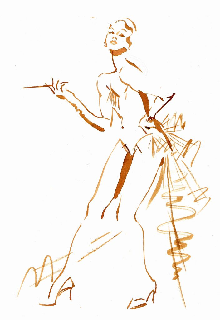 Artwork J'Adore Showgirl A4 Watercolour Inks Live Drawing