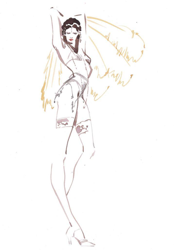 Artwork Showgirl2 Jmehtas Couture Live Drawing Watercolour