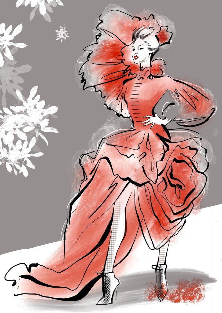 Shop Artwork Rose Dress Live Drawing Watercolour Inks