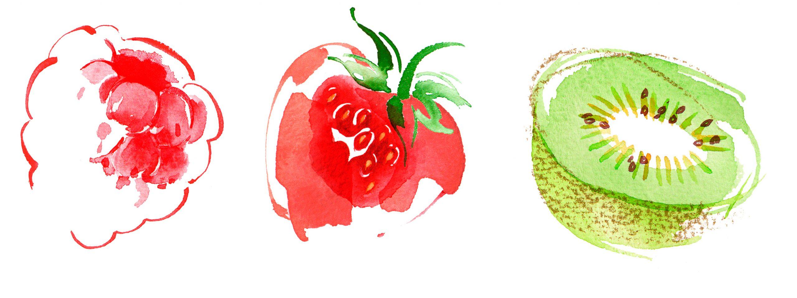 Illustration Food Drink Fruit Bar Harrods Strawberries Kiwi Raspberry Raspberries